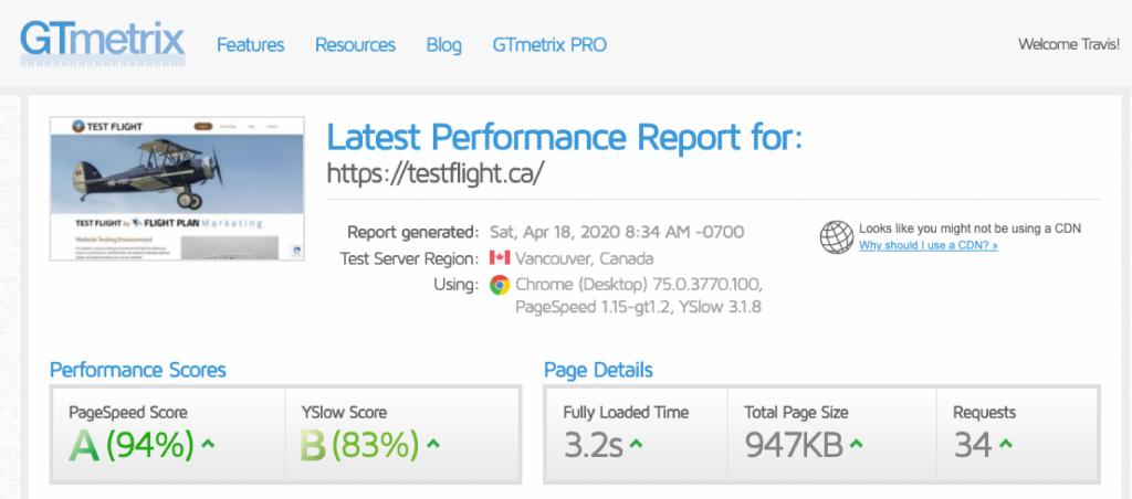 gtmetrix speed report image