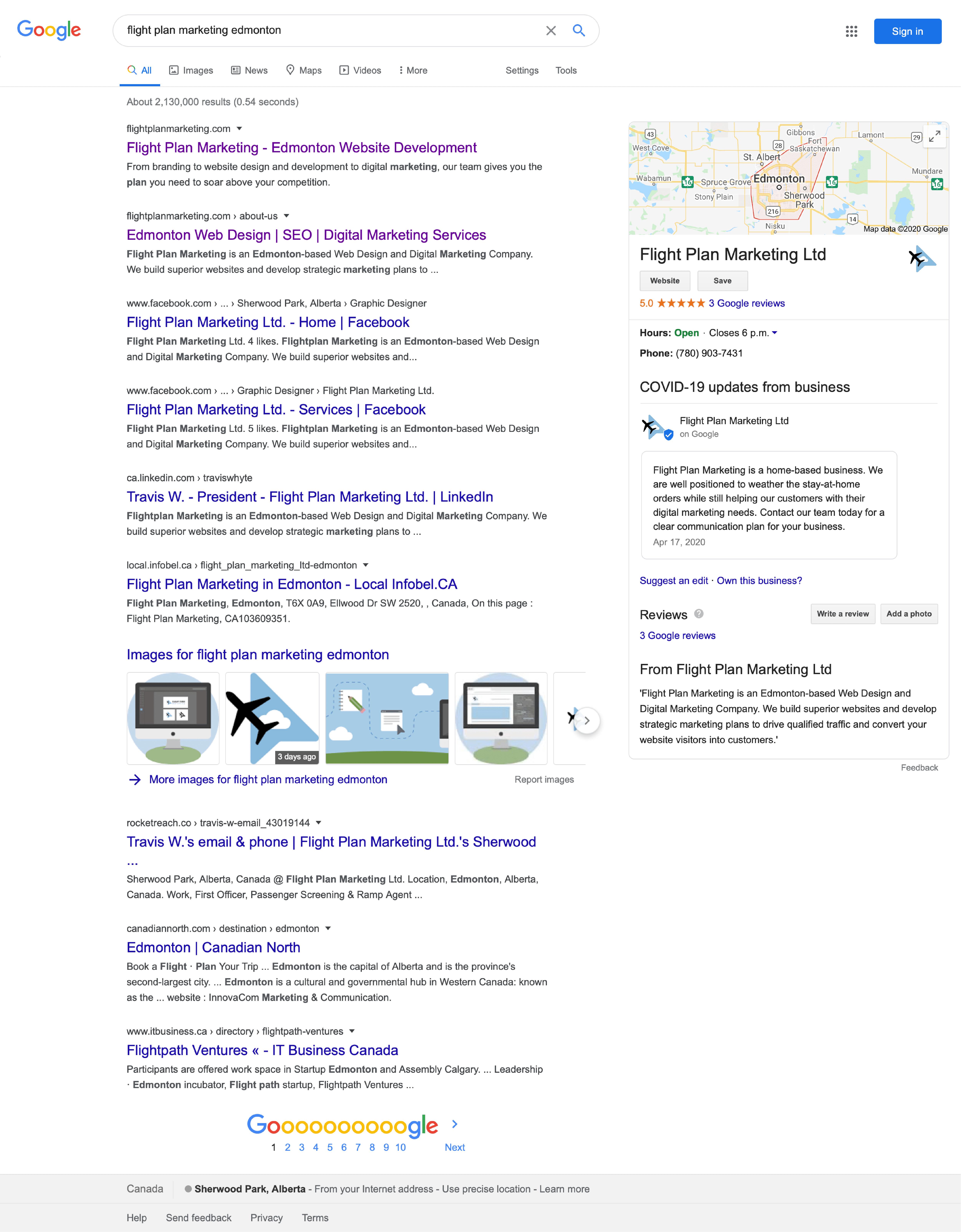 flight plan marketing google brand search results