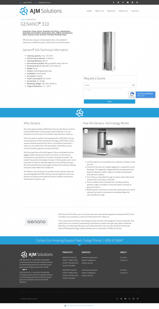 ajm solutions product page
